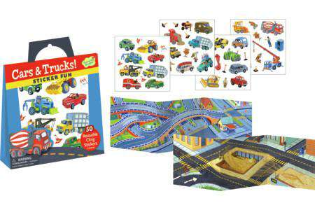 Peaceable Kingdom | Reusable Sticker Tote | Cars & Trucks