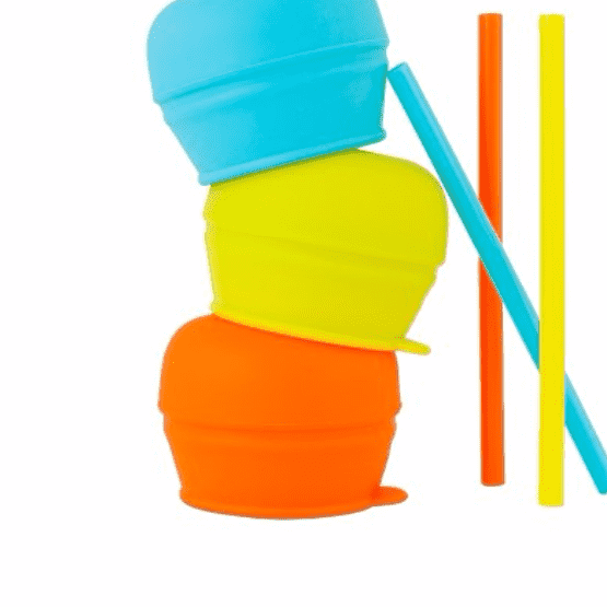Boon | Snug Straw Lids | Orange, Green, Blue
