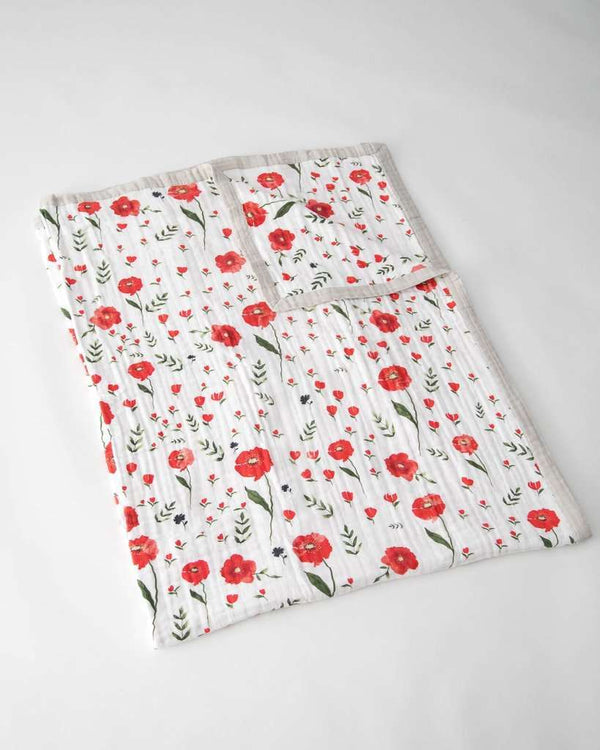 Little Unicorn | Big Kid Cotton Muslin Quilt ~ Summer Poppy