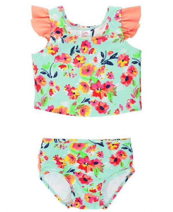 RuffleButts | Tankini ~ Painted Flowers Tulip Back Tankini
