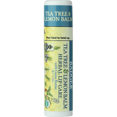 Badger Healthy Body Care ~ Organic Cocoa Butter Lip Balm - Tea Tree Lemon