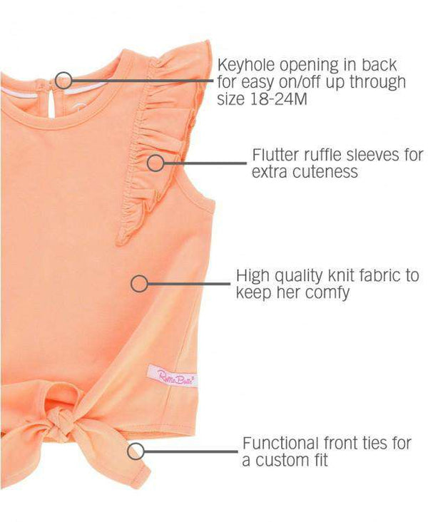 Ruffle Butts | Ruffle Tie Top ~ Peach