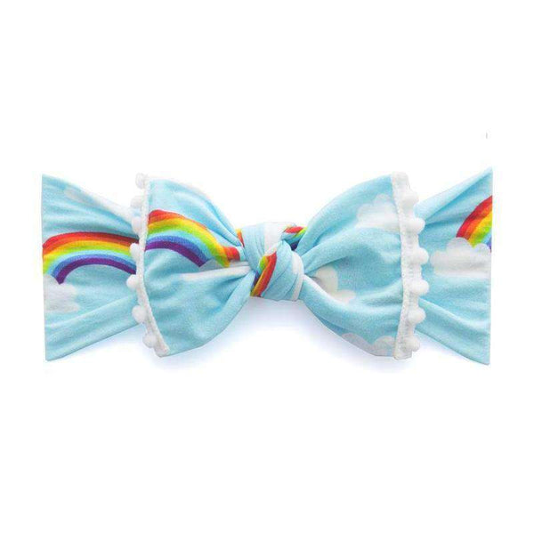Baby Bling Bows | Trimmed Printed Knot Headband ~ Rainbow + White Pom Pom