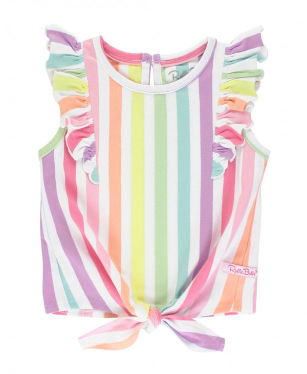 Ruffle Butts | Ruffle Tie Top ~ Rainbow Stripe