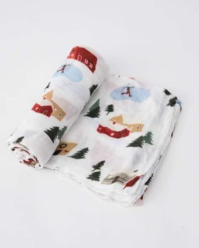 Little Unicorn | Deluxe Muslin Swaddle Single - Winter Village