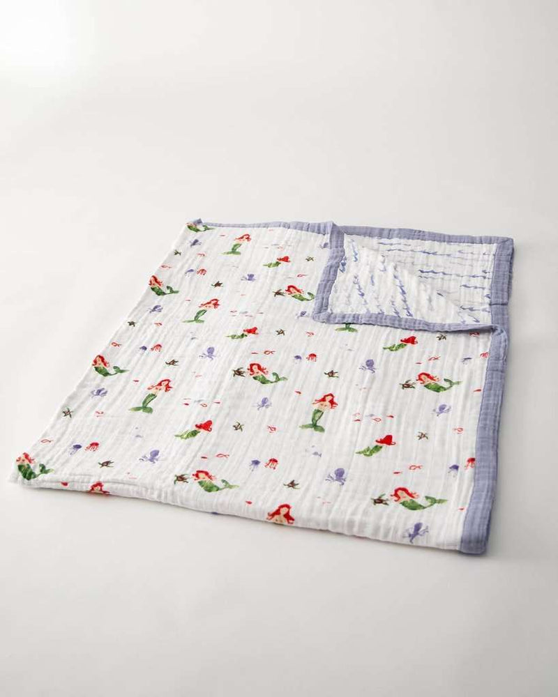 Little Unicorn | Big Kid Cotton Muslin Quilt ~ Mermaid