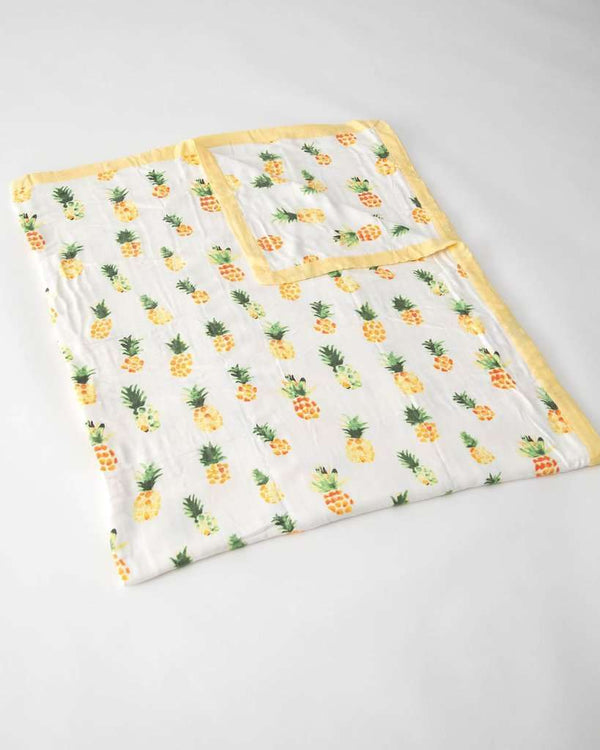 Little Unicorn | Big Kid Deluxe Muslin Quilt ~ Pineapples