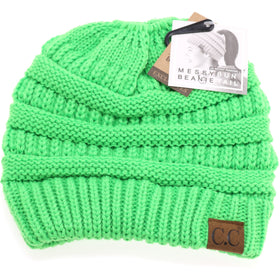 CC Beanie | Adult Classic Messy Bun ~ Neon Lime