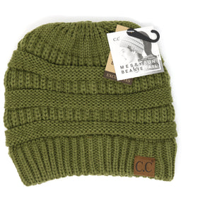 CC Beanie | Adult Classic Messy Bun ~ Olive