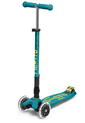 Micro Maxi Deluxe Folding LED Scooter | Petrol Green