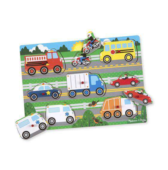 Melissa & Doug | Vehicles Peg Puzzle - 8 pieces