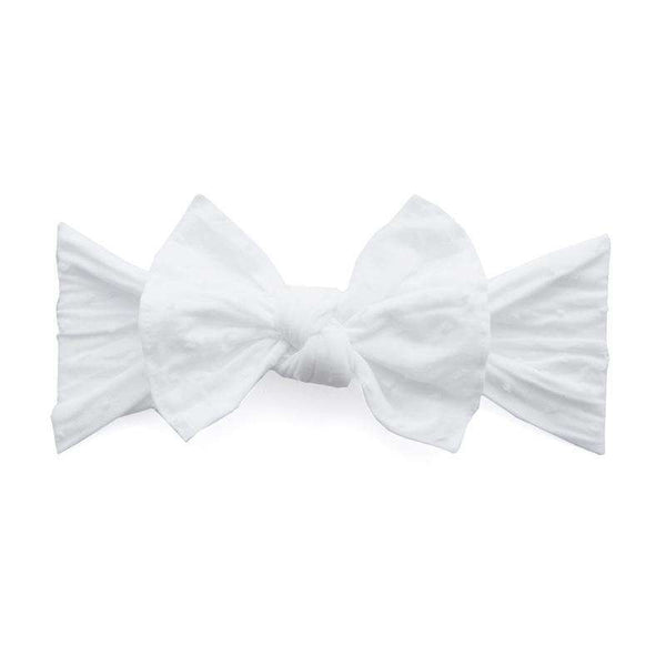Baby Bling Bows |  Patterned Knot ~ White Shabby Dot