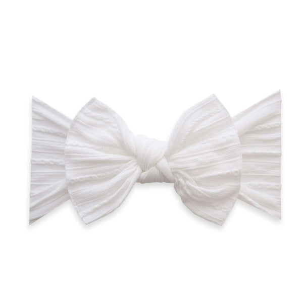 Baby Bling Bows | Cable Knit Knot Headband ~ White