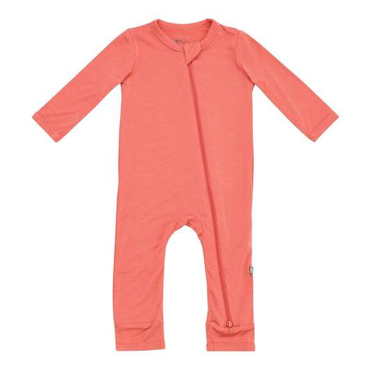 Kyte Baby - Zippered Long Sleeve Romper In Melon