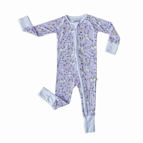 Little Sleepies - Lavender Bunnies Bamboo Viscose Convertible Romper/Sleeper