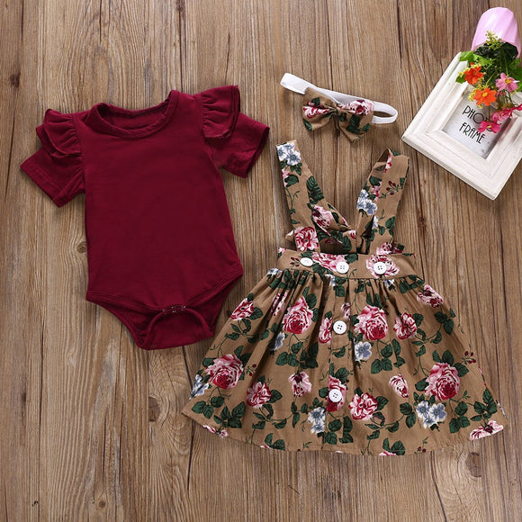 Princess Girl clothes 3Pcs Baby Toddler Girls Kids Overalls Skirt +Headband+Romper Clothes Outfits