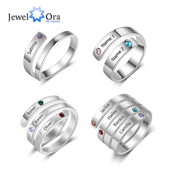 JewelOra Personalized Mothers Rings Custom Name Birthstone Rings for Women Engraved Jewelry Anniversary Gifts for Mom
