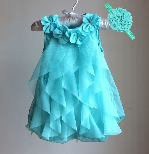 Baby Girls 1 Years Birthday Party  Dress Summer  Chiffon Dresses & Headband Vestidos