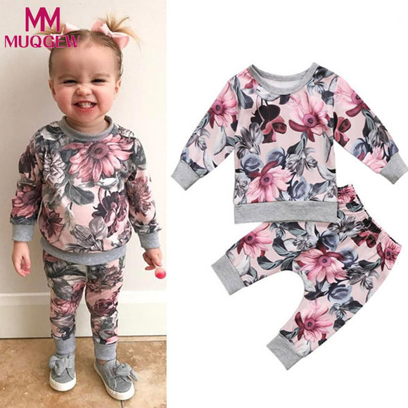 Newborn Toddler Baby Girls Boys Clothes Coat T-shirt Tops+Floral Pants Leggings