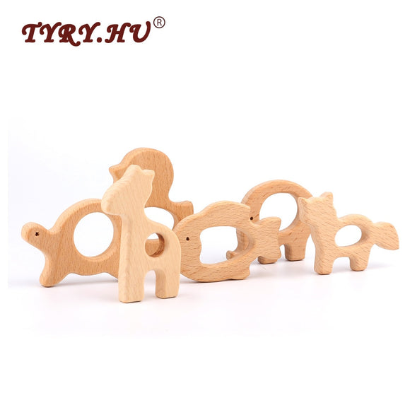 Lovely Cartoon Wood Teether 1Pc Pure Natural Animal Shaped