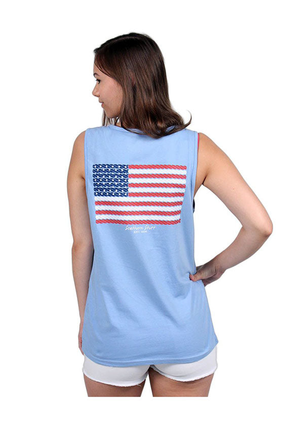 American Twine Pocket Tank Top in Maui Blue by The Southern Shirt Co.