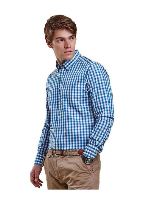 Auton Tailored Fit Button Down in Blue Check by Barbour