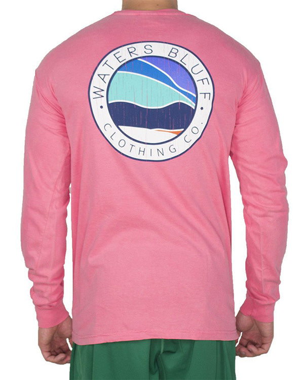 Bluff Horizon Long Sleeve Tee Shirt in Crunchberry by Waters Bluff