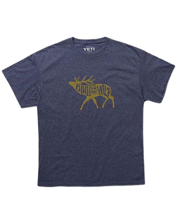 Built For The Wild Bugling Elk Tee in Heather Navy by YETI