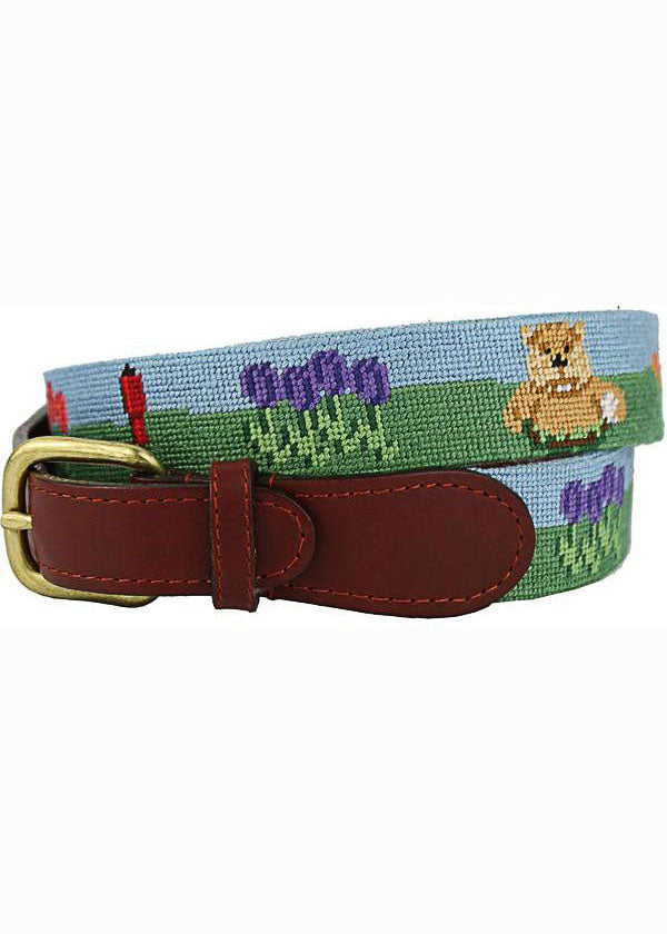 Caddyshack Needlepoin Belt in Green and Blue by Smathers & Branson