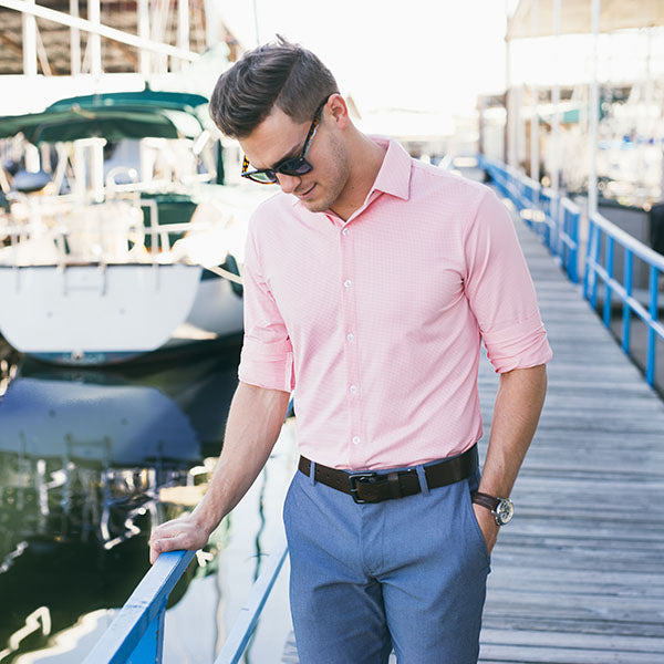 "The ""Captiva"" Button Down in Bright Coral Orange by Mizzen+Main"