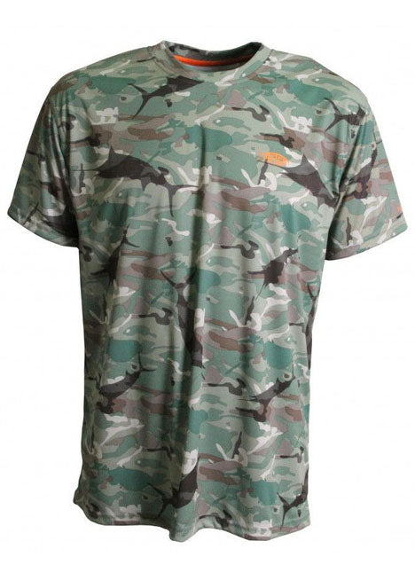 Caster Tee Sun Shirt in Green Camo by AFTCO
