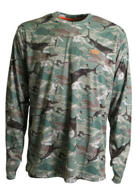 Caster Long Sleeve Sun Shirt in Green Camo