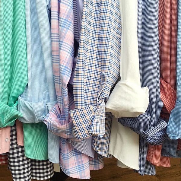 "The ""Savannah"" Button Down in Pink & Blue Plaid by Mizzen+Main"