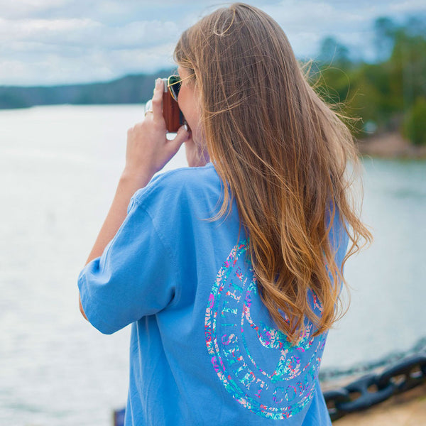Floral Logo Pocket Tee Shirt in Cornflower Blue by the southern shirt co.