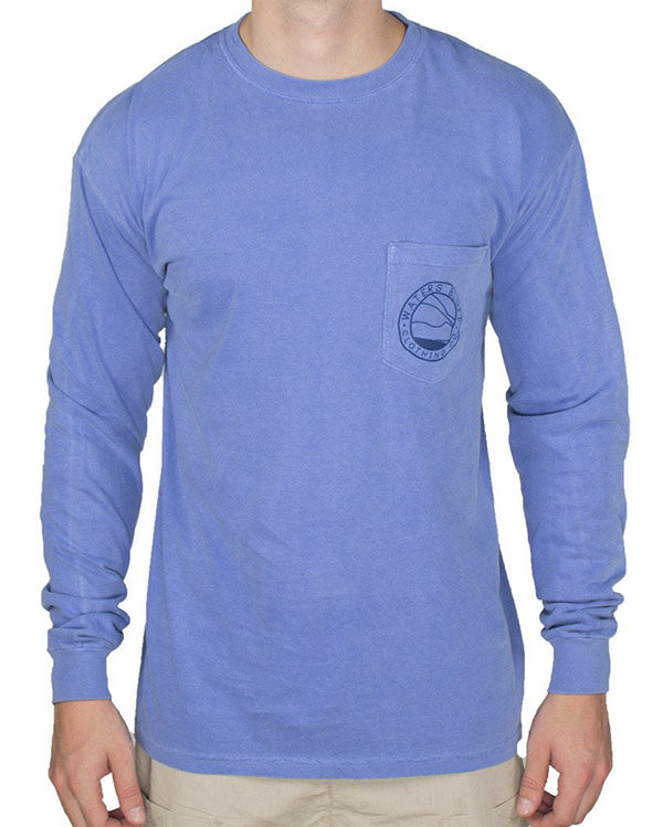 Fly Fisher Long Sleeve Tee Shirt in Flo Blue by Waters Bluff
