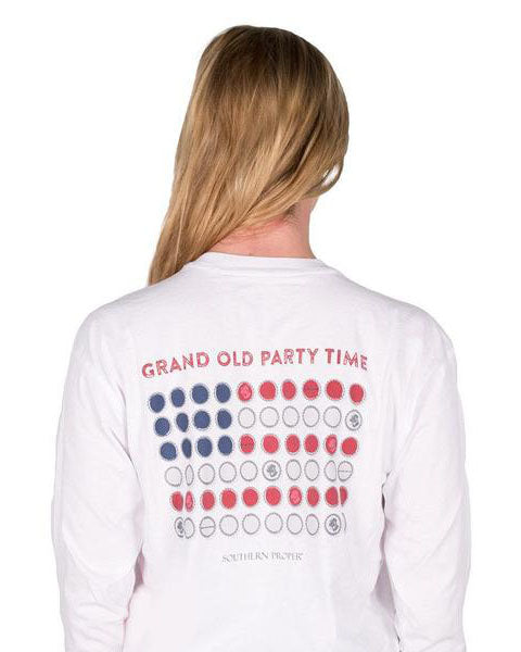 Grand Old Party Time long sleeve Tee Shirt in white by Southern Proper