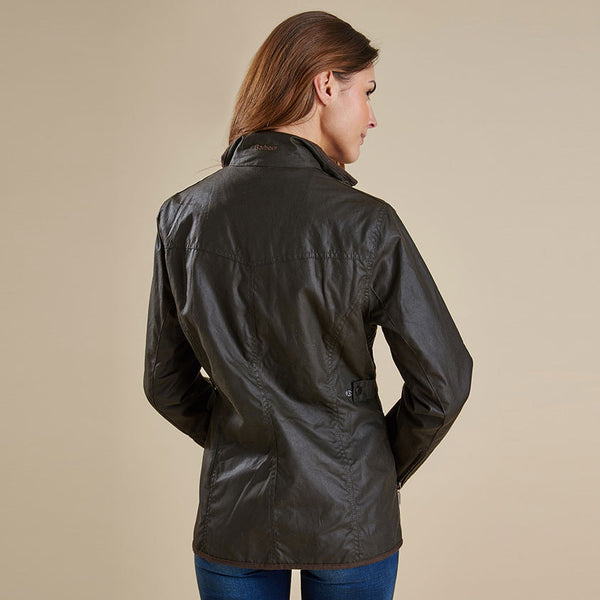 Ladies Utility Waxed Jacket in Olive by Barbour