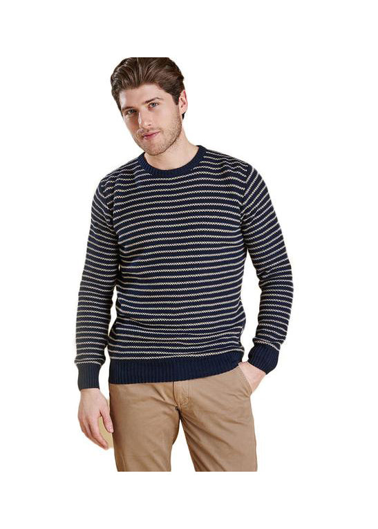 Legion Stripe Crew in Navy by Barbour