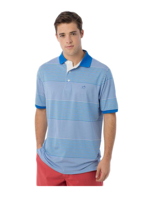 Southern Tide Match Point Stripe Performance Polo in Blue Stream by Southern Tide