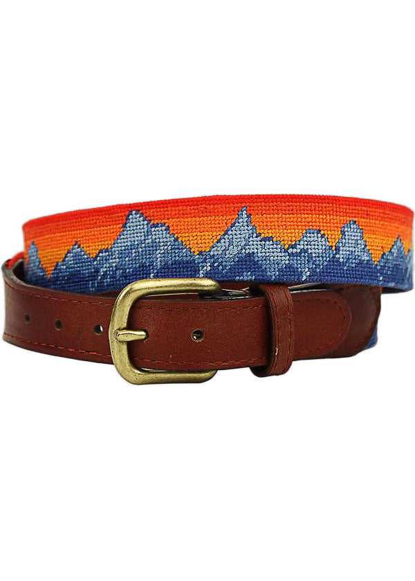 Mountain Sunset Needlepoint Belt in Multi by Smathers and Branson