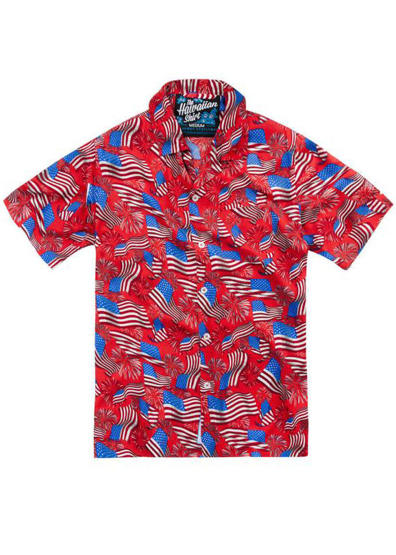 National Anthem Hawaiian Shirt in Red by Rowdy Gentleman