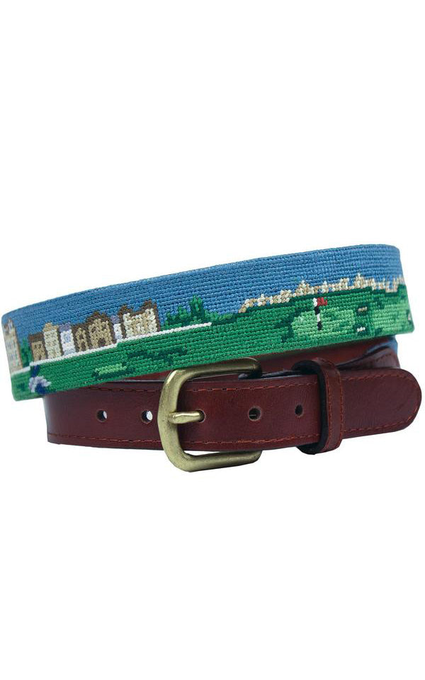 Old Course Scene Needlepoint Belt by Smathers & Branson
