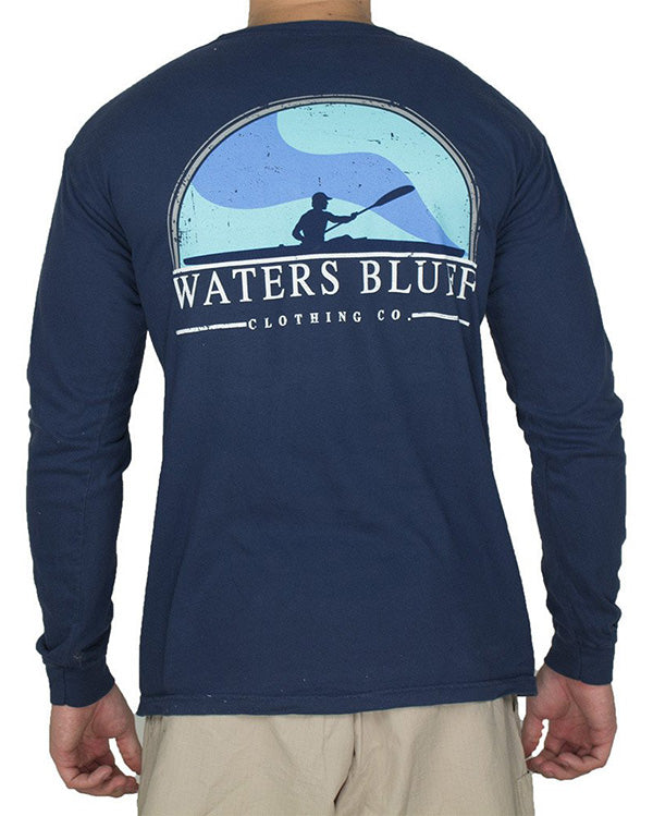 Paddler Long Sleeve Tee Shirt in True Navy by Waters Bluff