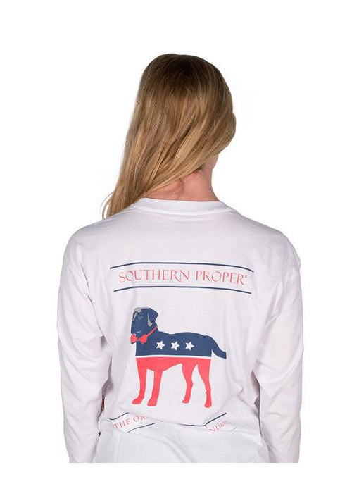 Party Animal Long Sleeve Tee Shirt in White by Southern Proper