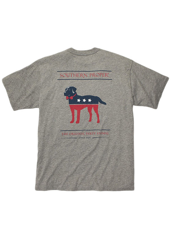 Party Animal Tee Shirt in Grey by Southern Proper
