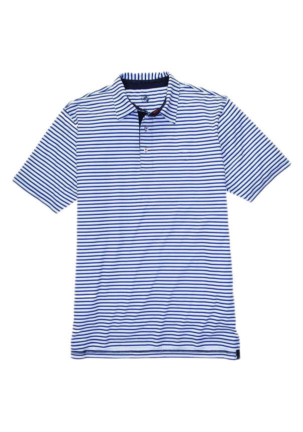 Southern Proper Performance Polo in Hydrangea and Navy