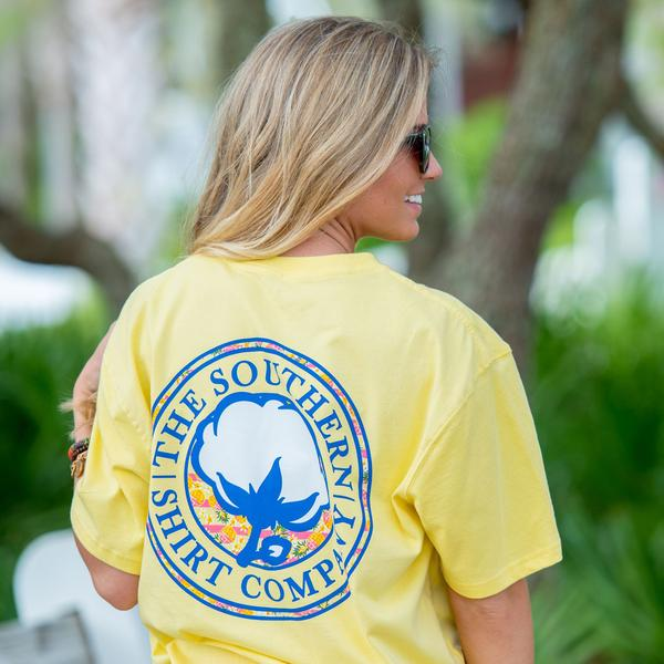 Pineapple Logo Tee Shirt in sunshine by the southern shirt co.