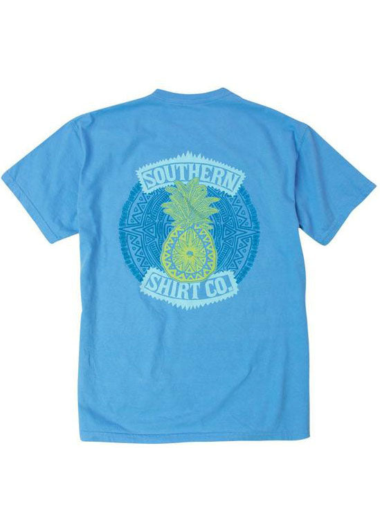 Pineapple Pocket Tee Shirt in Bonnie Blue by the southern shirt co.