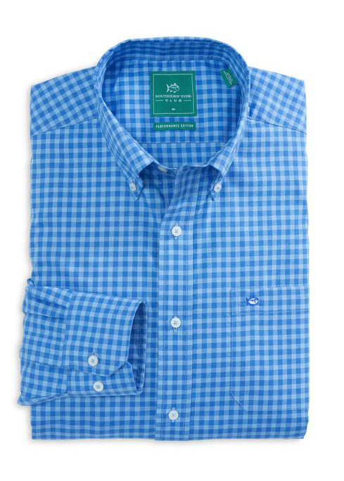 Sage Valley Check Performance Sport Shirt in Blue Stream by Southern Tide