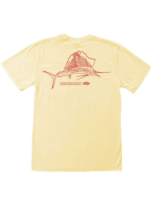 Sailsketch Tee Shirt in Yellow by AFTCO